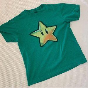 Super Mario Green Star T-Shirt, Men's Sz Medium